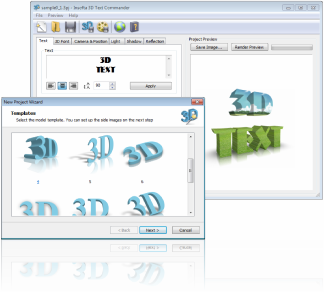 Click to view Insofta 3D Text Commander 3.0.2 screenshot