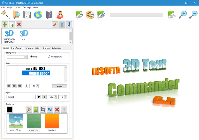 Click to view Insofta 3D Text Commander screenshots