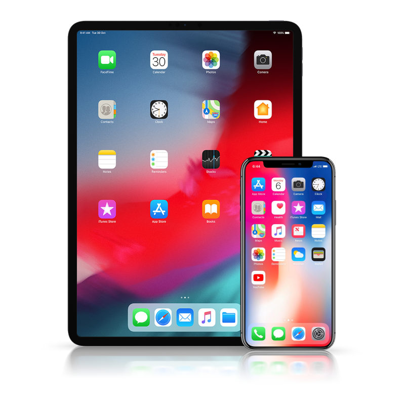 iPad, iPhone X