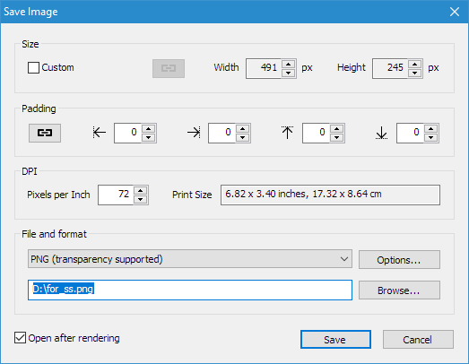 3D Text Commander: Save Image Dialog