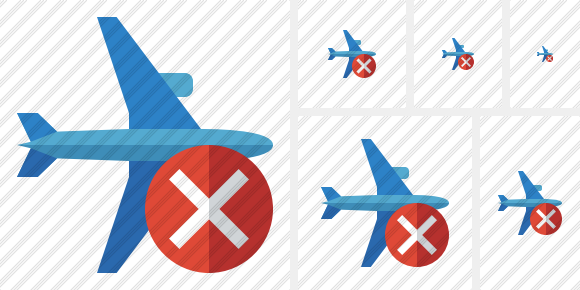 Airplane Horizontal 2 Cancel Icon