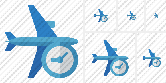 Airplane Horizontal 2 Clock Icon