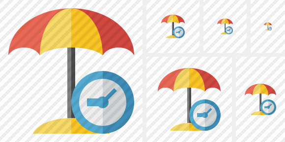 Beach Umbrella Clock Icon