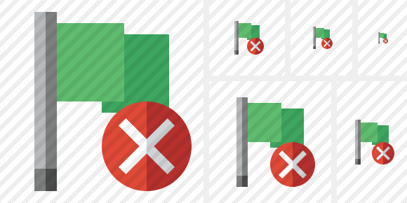 Flag Green Cancel Icon
