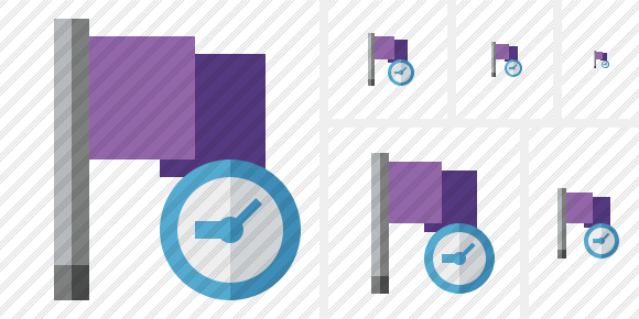 Flag Purple Clock Icon