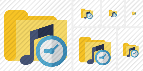 Folder Music Clock Icon