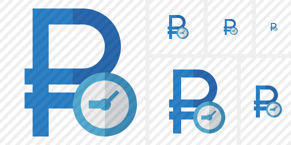 Ruble Clock Icon