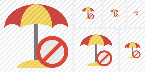 Beach Umbrella Block Icon