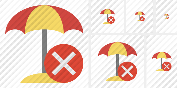 Beach Umbrella Cancel Symbol