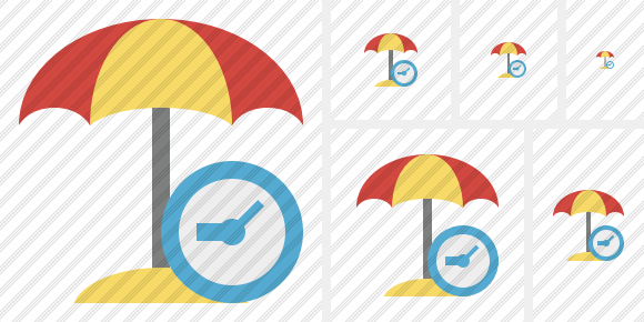 Beach Umbrella Clock Symbol