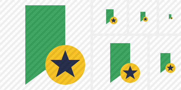 Bookmark Green Star Icon