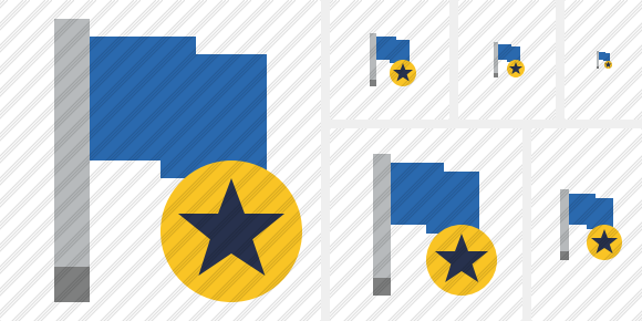 Flag Blue Star Icon