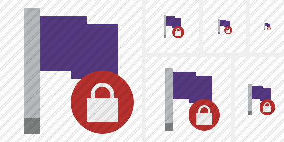 Flag Purple Lock Icon
