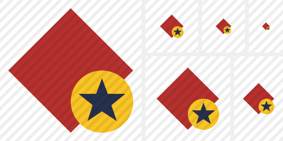 Rhombus Red Star Icon