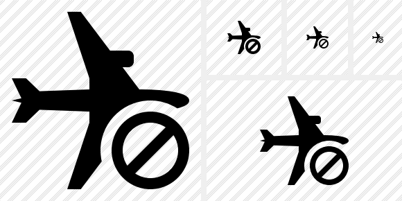 Airplane Horizontal Block Icon