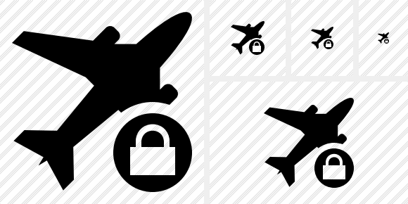 Airplane Lock Icon