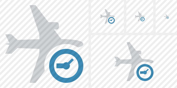 Airplane Horizontal Clock Symbol