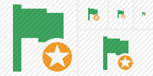 Flag Green Star Symbol