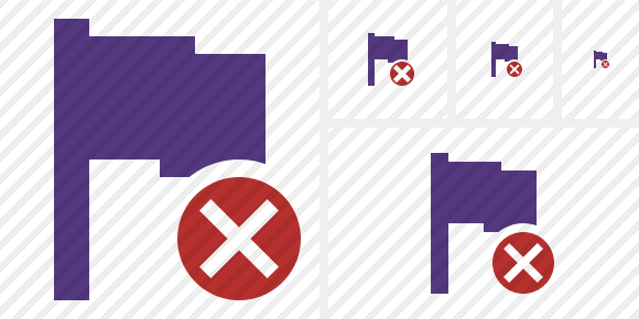 Flag Purple Cancel Icon