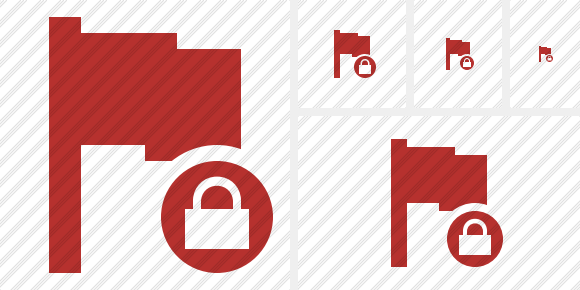 Flag Red Lock Icon