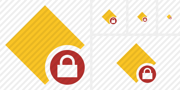 Rhombus Yellow Lock Icon