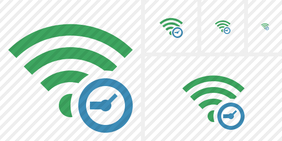Wi Fi Green Clock Icon