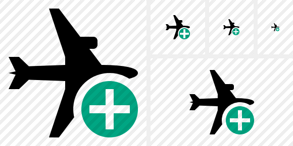 Airplane Horizontal Add Symbol