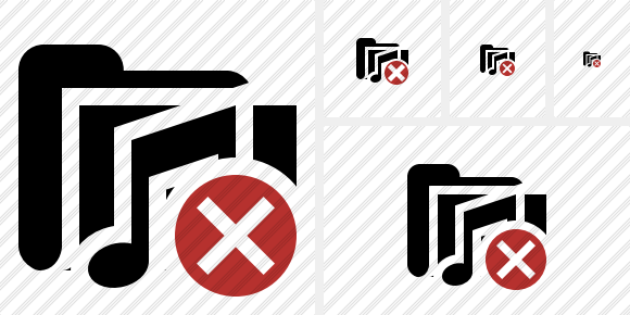 Folder Music Cancel Symbol