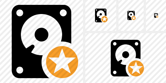 Hard Drive Star Icon