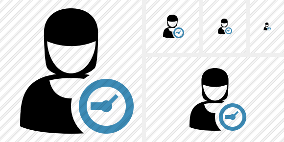 User Woman Clock Icon