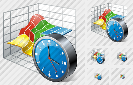 3D Graph Clock Icon