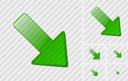 Arrow Right Down Green Icon