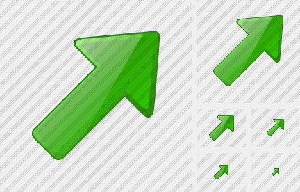 Arrow Right Up Green Symbol
