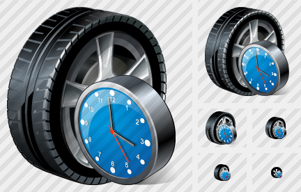 Car Wheel Clock Icon