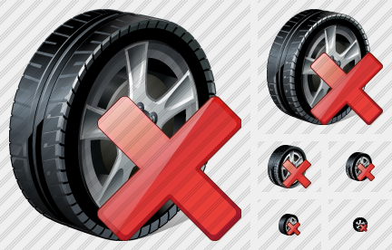 Car Wheel Delete Icon