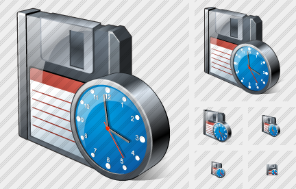Floppy Disk Clock Icon