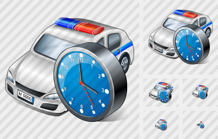 Police Car Clock Icon