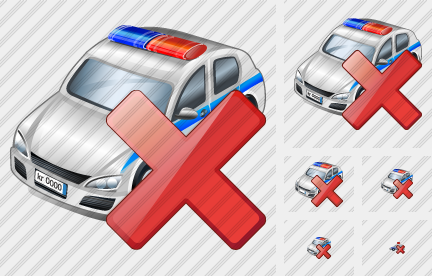 Police Car Delete Icon