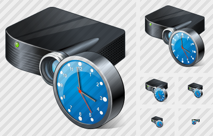 Projector Black Clock Icon