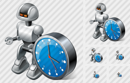 Robot Clock Icon