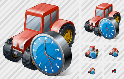 Wheeled Tractor Clock Icon