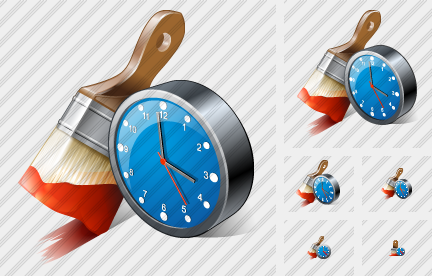 Wide Brush Paint Clock Icon