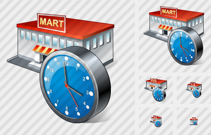 Grocery Shop Clock Icon
