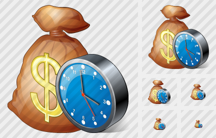 Money Bag Clock Symbol