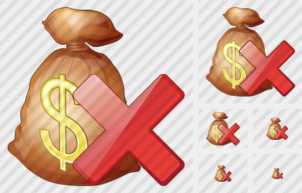 Money Bag Delete Icon